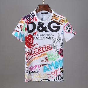 2020 DG T Gömlek Siyah Beyaz Erkek T Shirt Moda Erkek T Gömlek Kısa Kollu Boyut S-3XL