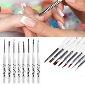 8pcs / set prego Pintura Pen Set Zebra Pattern Escova de Unhas Esculpido Pincelada Pen madeira Tool Kit