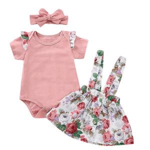 Baby-Kleidung Sets Kleinkind-Mädchen-rosa Strampler Sling Röcke Stirnband 3pcs Set Floral Girl Outfits Boutique Säuglingsklagen Kleidung WZWYW3887