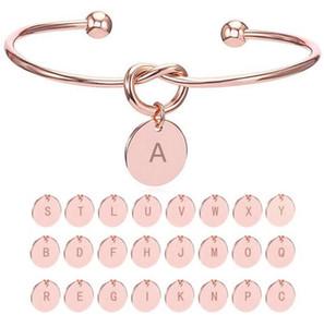 26 письмо золото серебряный цвет узел сердце браслет Браслет девушка мода ювелирные изделия сплава круглый кулон браслеты для женщин подарок невесты подарок