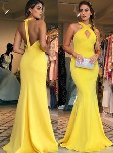 Robes de bal jaune sirène dos ouvert 2019 nouvelle longueur de plancher sans manches Criss Cross Occasion spéciale robe formelle soirée robes de soirée