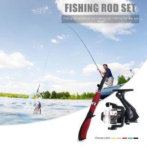 6 Section 1.4m Casting Lure Fishing Rod+5.2:1 Baitcasting Fishing Reel Kit Rod Reel Combo