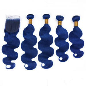 Pure Blue Body Wave Human Hair Weaves with Closure 4Bundles Dark Blue Wavy Malaysian Virgin Hair with 4x4 Lace Front Closure 5Pcs Lot