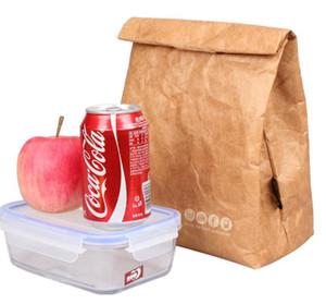 DHL Isolado Marrom Paper Lunch Bags Reutilizável Retro Lunch Sacks Derramamento À Prova D 'Água Térmica Refrigerador Lancheira Brown para todas as idades