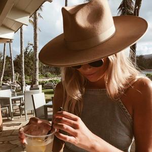 Amplia clásica de ala del sombrero de Fedora Porkpie Camel Negro 100% gorros de lana Hombres Mujeres Crushable sombrero de invierno Derby boda de la iglesia del jazz sombreros Y200110