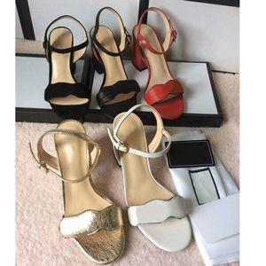 Luxus Ledersandale Damen Designer High Heels mit doppelt goldfarbenen Lady Summer Sexy Schuhen mit mittlerem Absatz 7-11cm Lackleder Thrill Heels