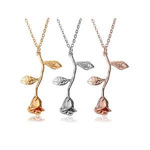 Rosa colgante, collar de plata esterlina Retro 3D Rose Leaf Necklace Gift Regalo de cumpleaños de San Valentín para mujeres