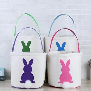 Conejo de Pascua Cesta Conejito de Pascua Bolsos Conejo Impreso Lona Tote Bag Caramelos de huevo Cestas 4 colores