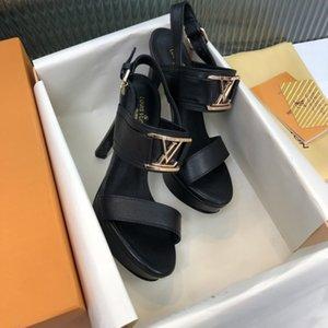 TOP kalite HORIZON PLATFORMU SANDAL Tasarımcı SANDAL terlik, Yaz yüksek topuk sandalet büyük boy altın ton metal moda Horizon platformu
