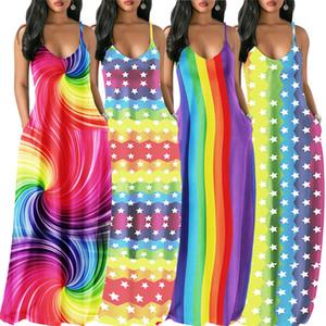 Abiti da sera Arcobaleno abiti da donna estivo a righe Stelle maxi vestito colorato di pendenza partito Sling lungo Piano abito C62707