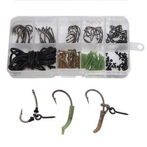 Il trasporto libero 121Pcs / Lot Carp Fishing Tackle Kit carpa Rig Ring si ferma Boilie Bait Screw Hook Sleeve