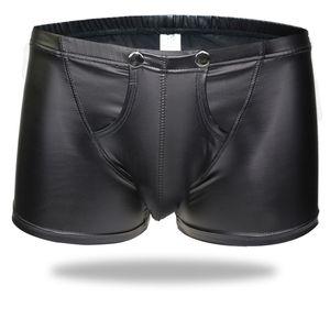 2017 Hot Open Pouch Bag Sexy Men Faux Leather Boxer Shorts Black Underwear EroticBulge Enhancer Gay Man Underpants Jockstraps