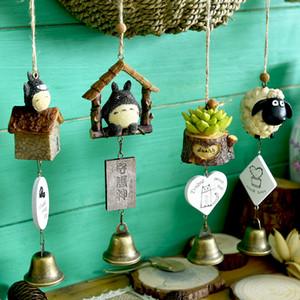 DIY Totoro rüzgar ahenge çocuk ev dekorasyon sevimli kız odası ev dekorasyon çan kolye doğum günü hediyesi Reçine hayvan Rüzgar çanları