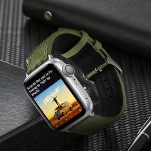 애플 시계 밴드 38 / 40mm 42 / 44mm 나일론 가죽 시계 밴드 스포츠 밴드 교체 손목 스트랩 iWatch 시리즈 5 / 4 / 3 / 1 / 2의 경우