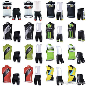 SCOTT team Cycling Sleeveless jersey Vest bib shorts sets Latest Bike Shirt Riding Sweatshirt Breathable Quick dry 3D gel pad F0926