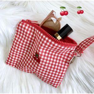 Cherry Red Plaid Cotton Fabric String Handbag Women Girls Sweet Zipper Shoulder Bags Card Holder mini Make up bag case