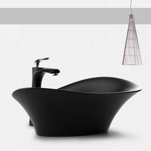 Ванная комната Art Раковины Дизайнер бассейна Современный керамический сосуд Стиральная Шар Черный Белый Совмещенный Раковина с дренажного шланга Soft