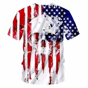 Новая мода одежда для мужчин забавный прохладный 3D печати американский флаг череп футболки топы тройники плюс размер повседневная футболка fz0870
