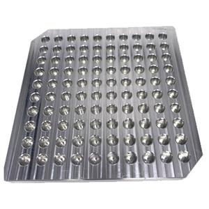 Bandeja de suportes de exposição OEM de alumínio para 100pcs 92A3 AC1003 Cartuchos Atomizador tanque Ecigs Vape bandeja abertura 10 mm de diâmetro para máquina de enchimento de óleo