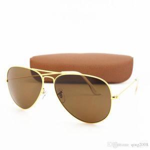 50pcs Brand Fashion Txrppr Pilot Men Women Unisex Classic Sunglasses Gold frame Brown Glass 58mm Len Glasses Eyewear for Driving come Box
