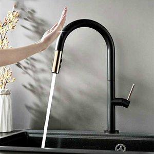 grifo Matt Negro latón saca Smart Touch Control Sentido grifo de la cocina Control sensible al tacto grifo mezclador de agua
