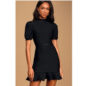 Mulheres Sexy mini vestido preto elegante Turtleneck manga curta Nightclub Ladies Vestidos Bodycon Party Club Streetwear