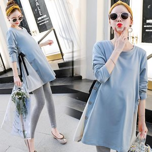 Pregnant Summer Round Neck Maternity Dress Long Sleeve Slim Woman Maternity Dress Loose Pregnant Woman Wear Korean Style