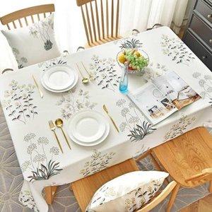 Withme Feuilles Nappe imperméable Polyester Cotonnier antipoussière modèle de cuisine mariage bureau café Table rectangulaire couverture