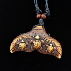 Arrefecer étnica tribal Imitação Yak óssea Tubarão / cauda da baleia Surfing Turtle Pendant Colar Gargantilha Sorte presente