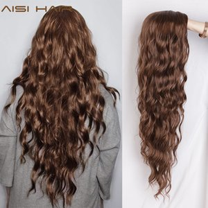 Cheap Synthetic None-Lace Wigs AISI HAIR Long Wavy Black Wigs Brown and Red Wave Synthetic Wig for Women Natural Middle