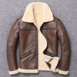 ZVAQS 2020 New Men's B3 Shearling Jacket Short Leather Jacket Bomber Lapel Mens Winter Coats Sheepskin Coat pph819