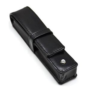 Livraison gratuite - luxe Monte cas crayon pour stylo Top en cuir noir portable de qualité Porte Comme Noël anniversaire emballage cadeau Saint-Valentin