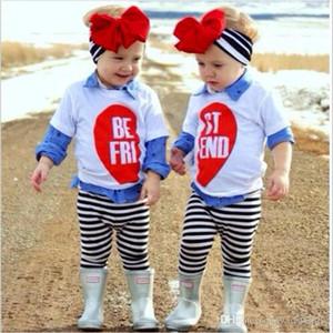 Baby Girl Clothes Twins Suor Set di abbigliamento bambini Babbo Natale T-shirt pantaloni Abiti a maniche lunghe magliette a righe pantaloni fascia Outfit DYP6280