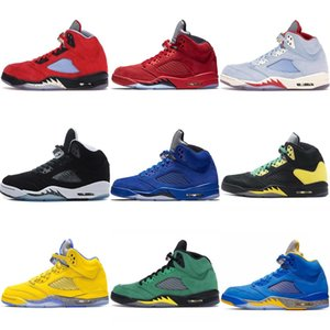 Hot New 5 5s 11s 11 12 13s Michigan Men Basketball Shoes yellow red black white sports sneakers mens trainers US 7-13