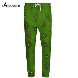 Raisevern Moda 3d Pepe The Frog Joggers Pantalones Hombres / mujeres Divertidos Pantalones de chándal de dibujos animados Pantalones Pantalones de cintura elástica Dropship MX190714