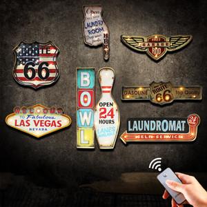 Retro Led Sinais De Metal Parede Pintura Decorativa Las Vegas Tigela Iluminado Rota Da Garagem 66 Tabuleta De Suspensão Néon Sinais Yn081 Y19061804