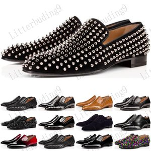 Luxury Bottom Designer Red Bottoms Studded Spikes Brand Mens Dress Shoes Leather Men Party Wedding Lover sports sneakers 35-47