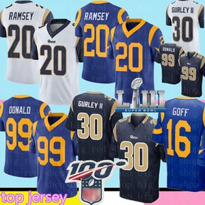 Top de vendas 99 Aaron Donald 20 Jalen Ramsey 30 Jersey mens 16 Jared Goff Football Jerseys