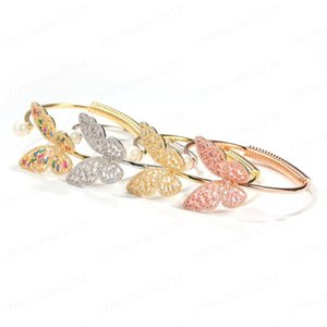 4 Colors for Options Charm Women Bracelet Gold Plated CZ Butterfly Bangle Bracelet for Girls Women for Party Wedding Nice Gift