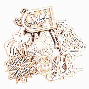 2pcs Árvore de Natal de madeira Ornamento de suspensão Scrapbooking Craft Para Embellishments Handmade DIY Artesanato Decoração DIY