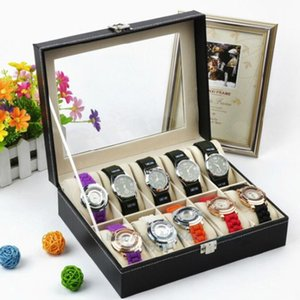 10 Slots Novelty PU Leather Watch Display Box Case Clear Glass Top Locking Watch Storage Organizer for Men\'s Watches
