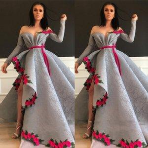 Sevintage assimétrica árabe Dubai Lace Prom Vestidos Flores mangas compridas Vestido Festa Formal Vestidos vestido formatura