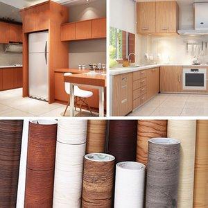 방수 나무 비닐 벽지 롤 자체 접착 종이 문 캐비닛 데스크탑 현대 가구 장식 스티커