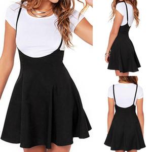 Nueva moda de verano vestido ocasional de las mujeres de la cintura Suspender Negro patinador altura de la cintura mini vestido plisado tamaño S-2XL
