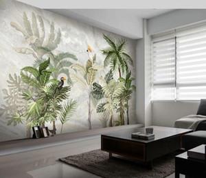 Kundenspezifische Tapete HD Hand bemalt tropischen Regenwald Landschaft Marmor Wohnzimmer Schlafzimmer TV Hintergrund 3D Wallpaper