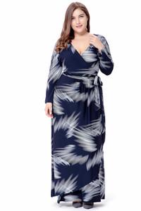 2019 spring explosion models women's printing v-neck large size long dress long-sleeved wrap dress free shipping