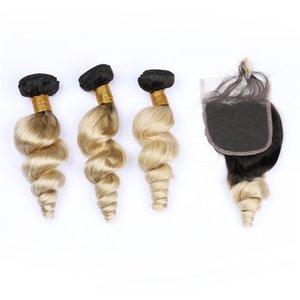 فضفاضة موجة شقراء أومبير شعر الإنسان مع إغلاق الدانتيل 1b 613 فضفاضة متموجة أومبير الشعر مع إغلاق الدانتيل 4x4