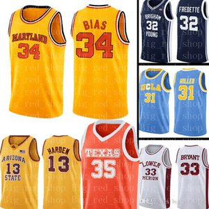 جامعة ميريلاند جيرسي 34 لين بياس كرة السلة الفانيلة الرجال جامعة NCAA رخيصة بالجملة جيرسي حجم S-XXL 99