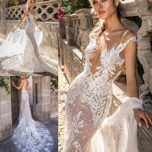 2020 Elihav Sasson Mermaid Beach Свадебное платье с отстегивающимся Поезд Sheer шеи Кружева Свадебные платья втулки крышки Иллюзия Boho платья невесты