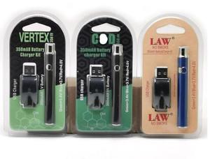 Vertex LEI LO VV Battery Charger Kit 350mAh CO2 Oil Pré-aqueça bateria E Cigarettes Vape Pen Fit 510 Atomizadores biscoitos Cartuchos 3 embalagens